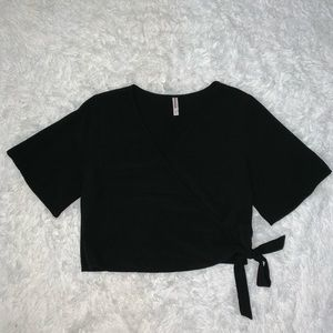 Black Wrap Crop Top